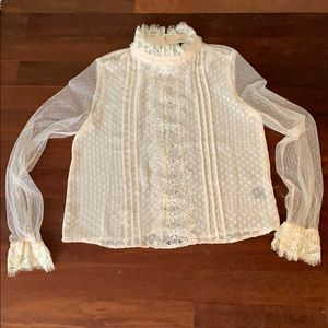 NWT Ark & Co L/S Cream Lace Blouse